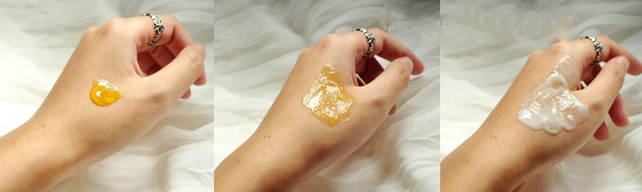 Dạng gel - Dạng dầu (Sau khi massage) - Dạng sữa (sau khi thêm nước)
