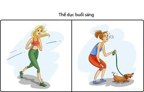 Không nhịn được cười hình ảnh phụ nữ khi 'lên hình' và ở ngoài đời khi tập thể dục