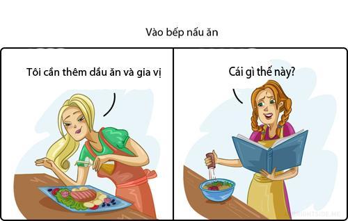 Không nhịn được cười hình ảnh phụ nữ khi 'lên hình' và ở ngoài đời khi nấu ăn