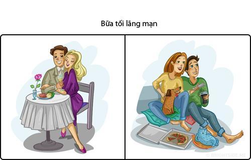 Không nhịn được cười hình ảnh phụ nữ khi 'lên hình' và ở ngoài đời với buổi tối lãng mạn