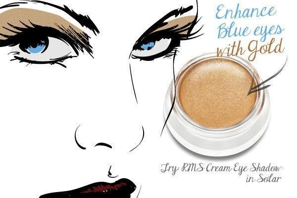 Phấn mắt màu ấm làm sinh động cho mắt màu xanh