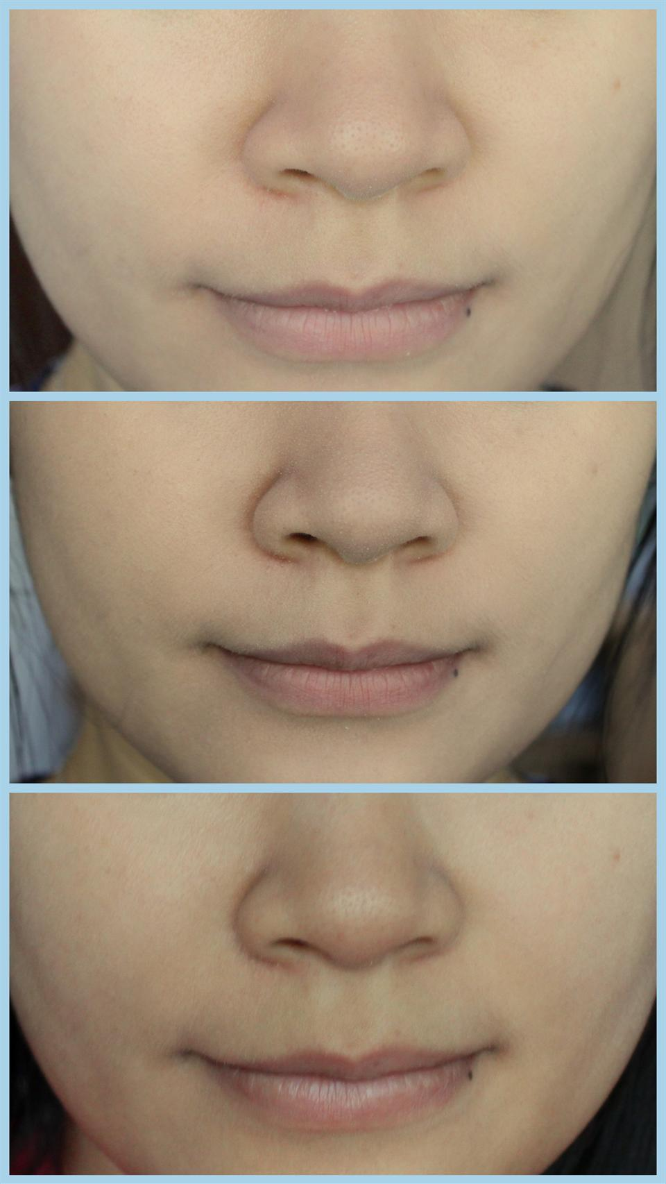 Từ trên xuống dưới: my bare face, with Long Wear Cushion (right after application) and face with Long Wear Cushion after 5 hours