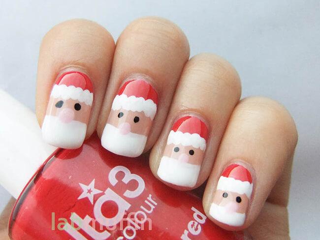 Make-up móng tay độc đáo ngày Noel với hình ảnh ông già Noel