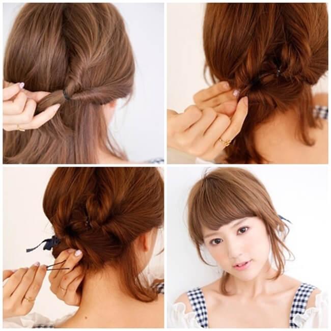 Cách làm tóc đơn giản cho bạn gái đi chơi Noel chỉ cần chun buộc