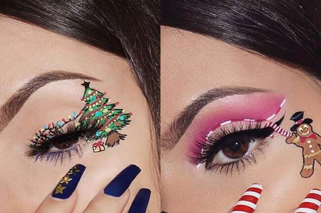Trang điểm đôi mắt ấn tượng ngày Noel với hình ảnh dây đèn lấp lánh
