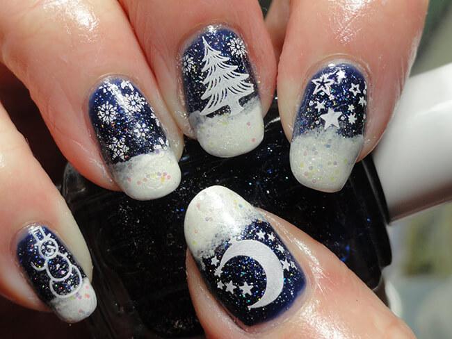 Make-up móng tay độc đáo ngày Noel với hình ảnh cây thông hoặc người tuyết