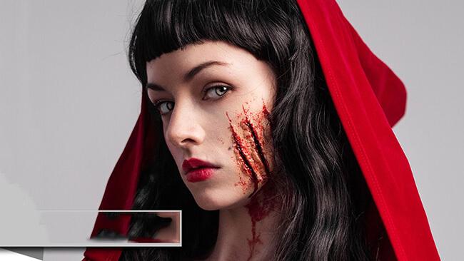 Sử dụng màu đỏ tạo một khuôn mặt quyền lực với sắc đỏ bí hiểm