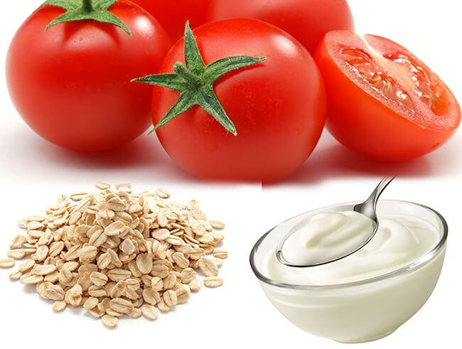 Kem dưỡng trắng da tại nhà với sữa chua cà chua và bột yến mạch