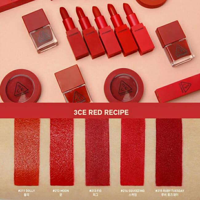 Son 3CE có rất nhiều màu son cho bạn gái thỏa sức lựa chọn